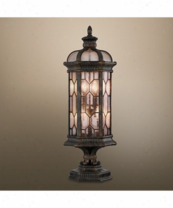 Fine Art Lamps 414483 Devonshire 4 Light Outdoor Pier Lamp In Forged Bronze With Textured Seedy Glass Panes Glass