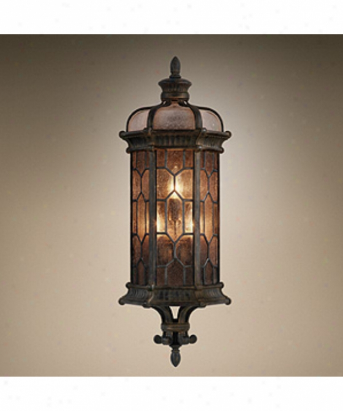 Fine Arg Lamps 414981fl Devonshire Energy Smart 1 Light Outdoor Wall Light In Antiqued B5onze With Textured Seedy Glass Glass