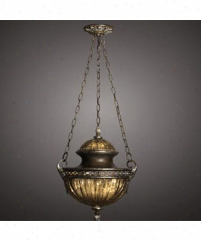 Fine Art Lamps 554240 Brazilian 1 Light Ceiling Pendant In Rich Brown Patina With Hand Blown Mottled Sable Glass Glass