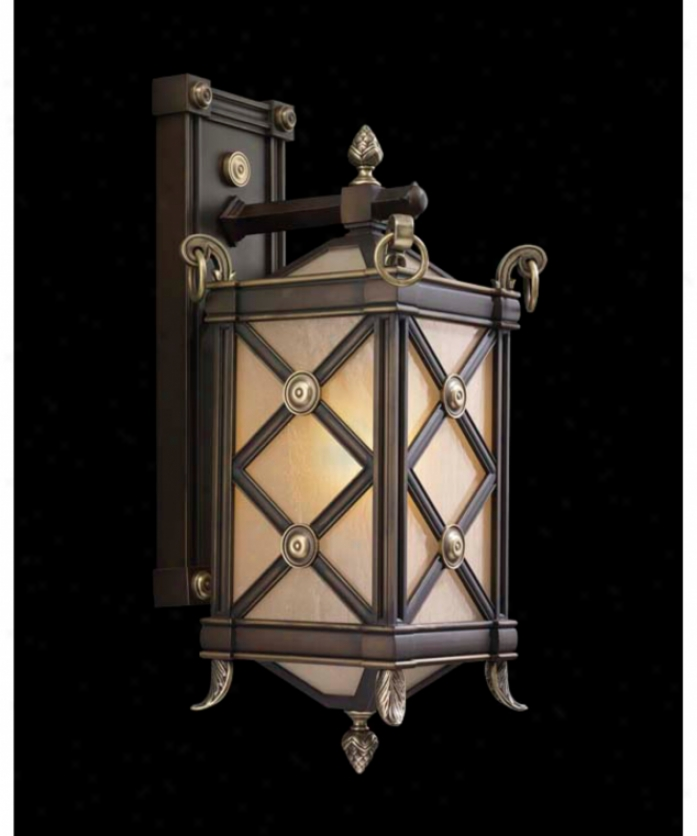 Fine Art Lamps 561381 Malmaison 1 Light Outfoor Wall Light In Empire Bronze With Frosted Beige Glass Glass