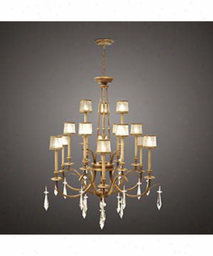 Fine Art Lamps 567740 Monte Carlo 15 Light Large Foyer Chandelier In Golld Leaf With Hand Blown Swirled Crystal Shades Glassbrilliant Crystal Drops Crystal