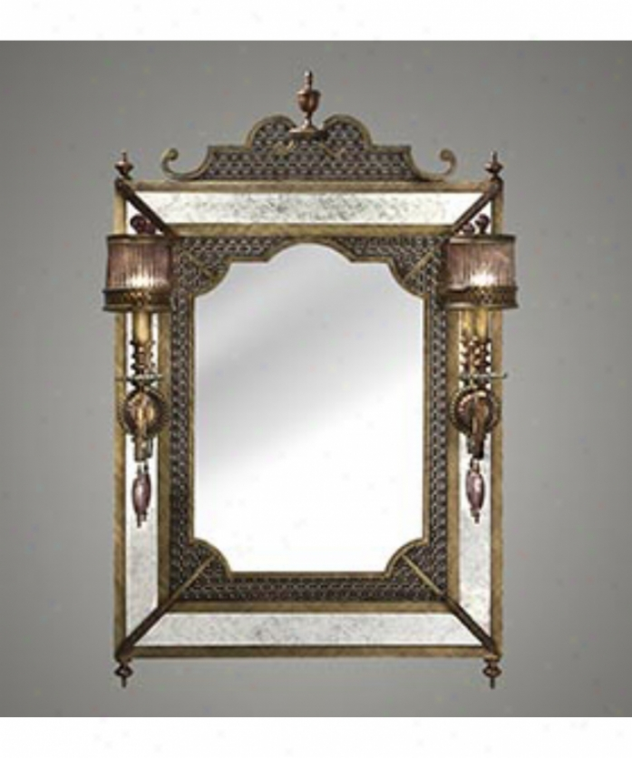 Fine Art Lamps 576555 Byzance 2 Light Mirror In Antique Gilt Bronze With Features Hand Blown Pale Amethyst Shades Glass