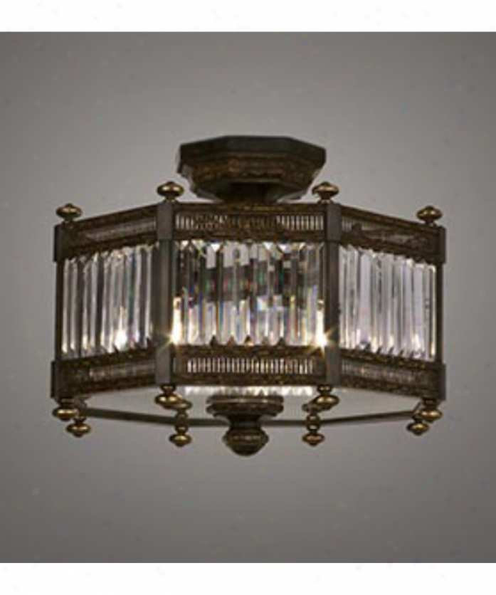 Fine Aet Lamps 584640 Eaton Place 3 Light Semi Flush Mount In Dark Brown Patina With Faceted Channel-set Crystal Crystal