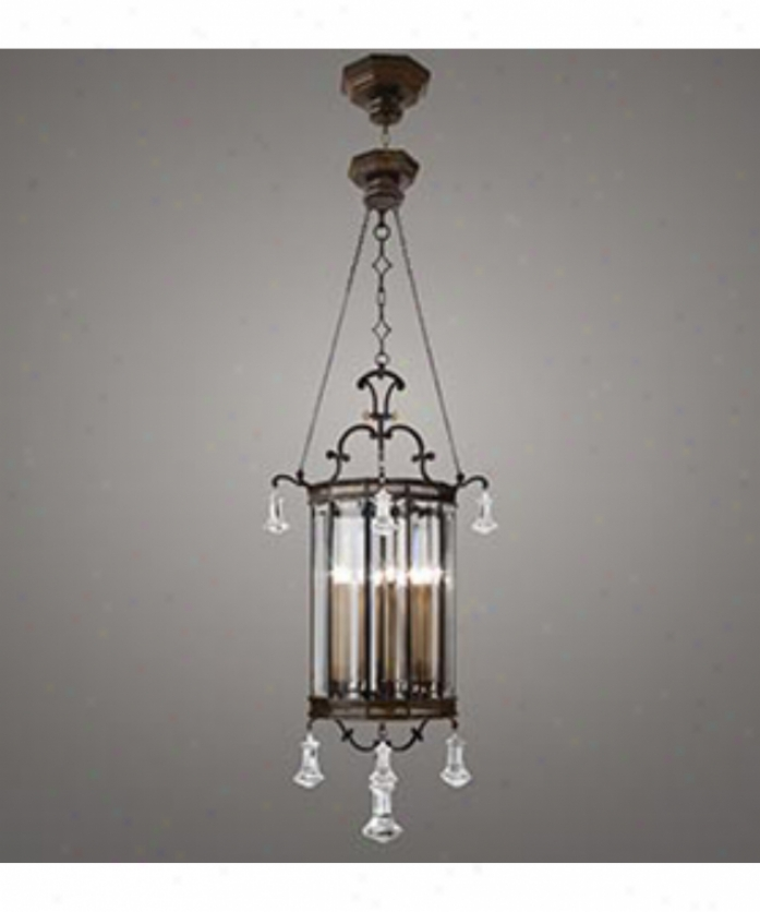 Fine Art Lamps 585440 Eaton Place 6 Light Foyer Lantern In Dark Brown Patina With Panels Of Beveled Optic Glass Glass