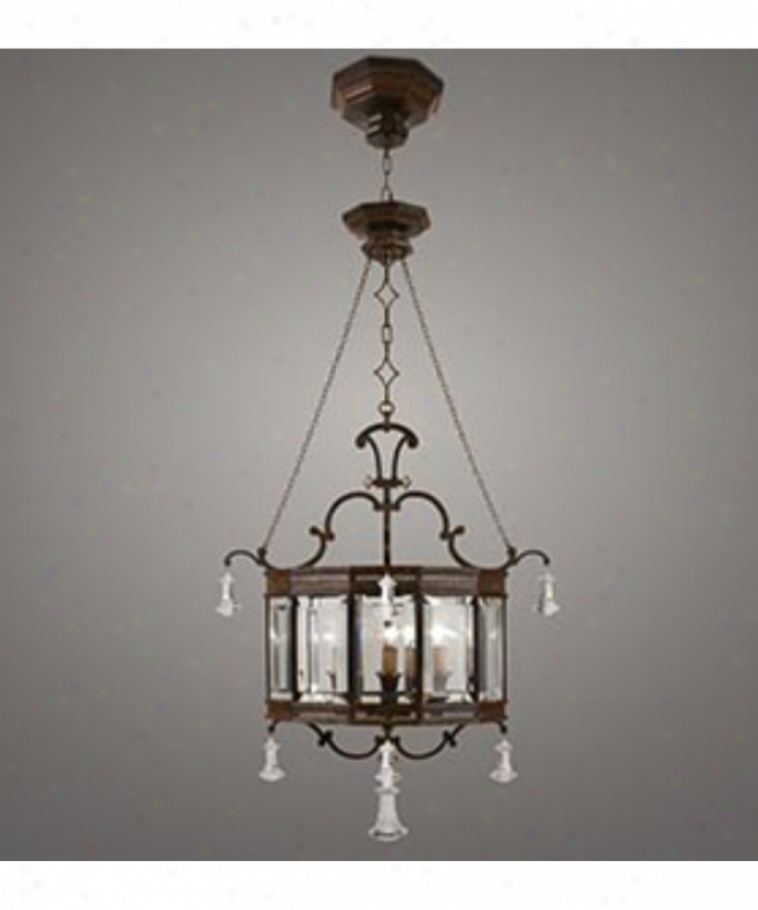 Fine Art Lamps 585540 Eaton Place 6 Light Foyer Lantern In Dark Brown Patina With Pannels Of Beveled O0tic Glass Glass