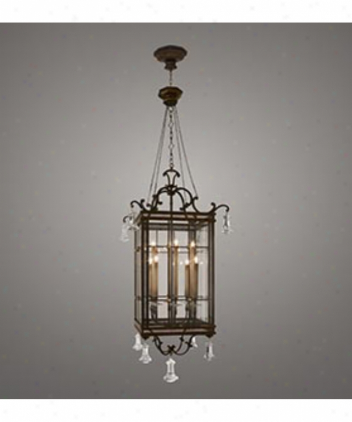 Fine Art Lamps 585640 Eaton Place 8 Light Foyer Lantern In Dark Brown Patina With Panels Of Beveled Optic Glass Glass