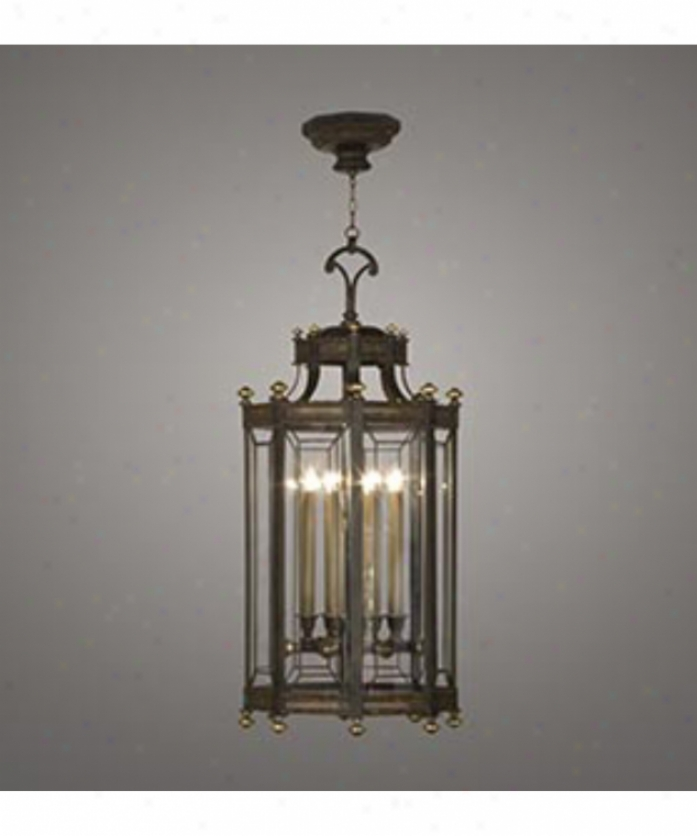 Fine Art Lamps 585740 Eaton lPace 8 Gay Foyer Lantern In Dark Brown Patina With Panels Of Beveled Optic Glass Glass