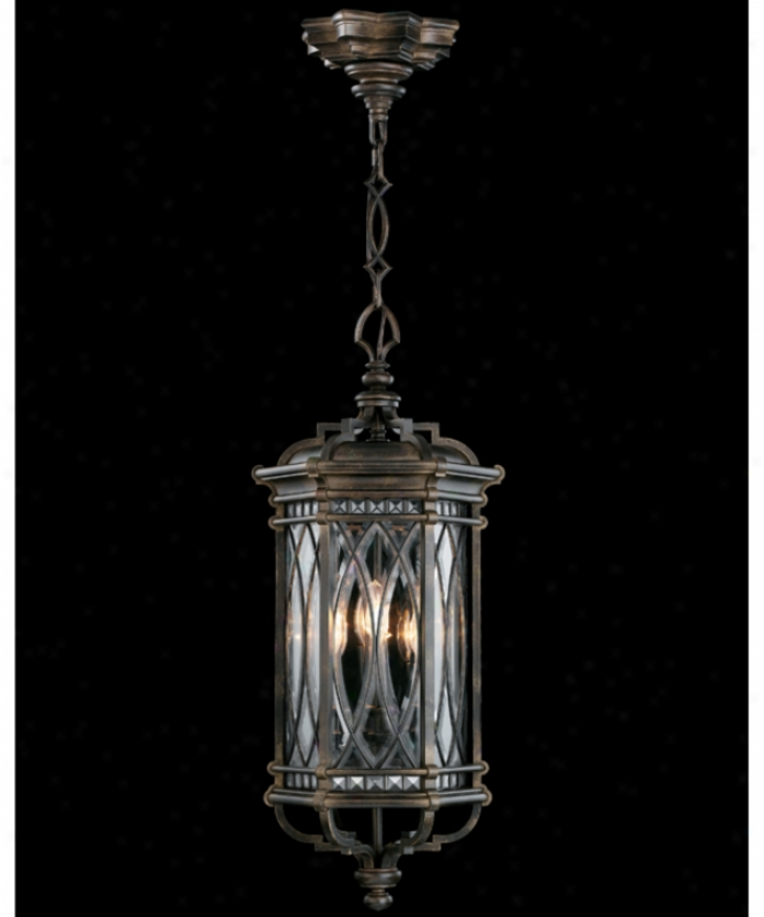 Fine Art Lamps 610882 Warwickshire 4 Light Outdoor Hanging Lantern In Wrought Iron Pwtina With Beveled Leaded Glass Glass