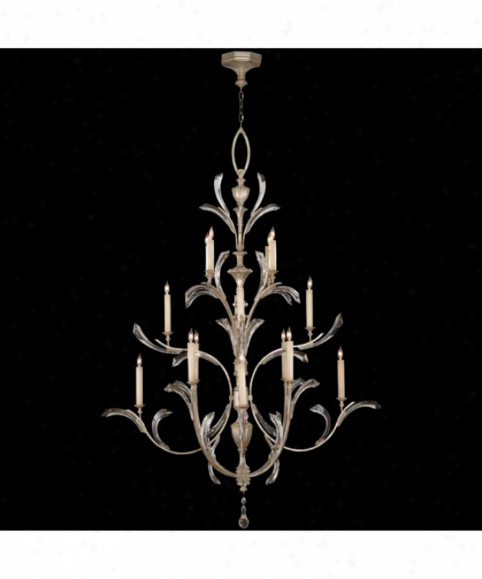 Fine Art Lamps 702040 Beveled Arcs 16 Light Large Foyer Chandelier In Muted Silver Leaf With Beveled Crystal Accents Crystal