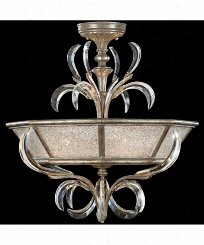 Fine Art Lamps 704340 Beveled Arcs 3 Light Semi Flush Mount In Muted Silver Leaf With Beveled Crystal Accents Crystal