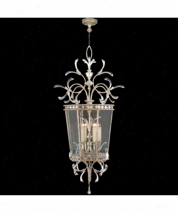 Fine Trade Lamps 704640 Beveled Arcs 6 Light Foyer Lantern In Muted Silver Leaf With Beveled Crystal Accents Crystal
