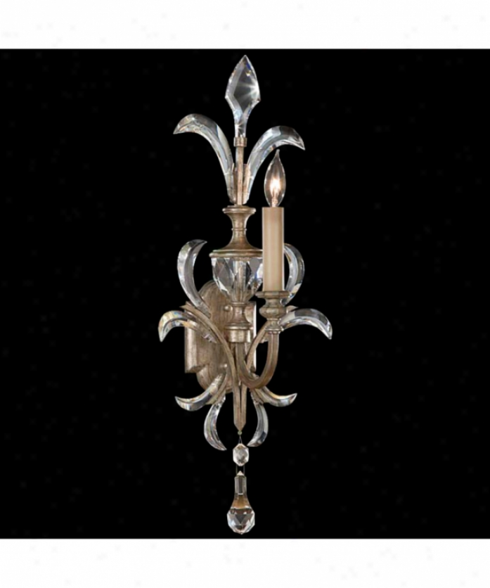 Fine Art Lamps 704950 Beveled Arcs 1 Light Wall Mulct In Muted Silver Leaf With Beveled Crystal Accents Crystal