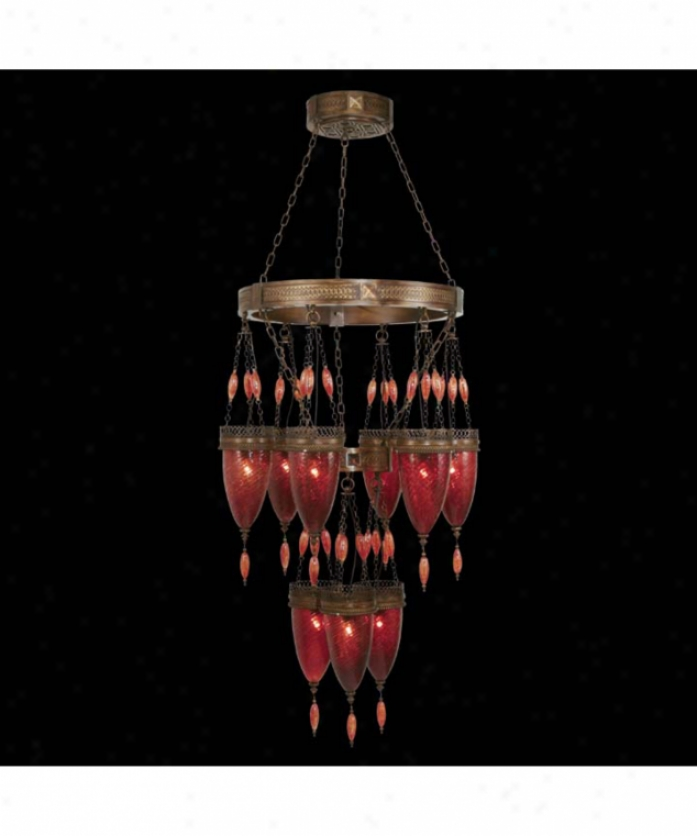 Fine Art Lamps 712440-1 Scheherazaade 9 Light Large Foyer Chandelier In Aged Dark Bronze With Oasis Green Glass
