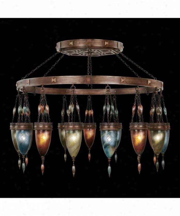 Fine Art Lamps 717240-1 Scheherazade 15 Light Single Tier Chandelier In Aged Dark Bronze With Oasis Green Glass