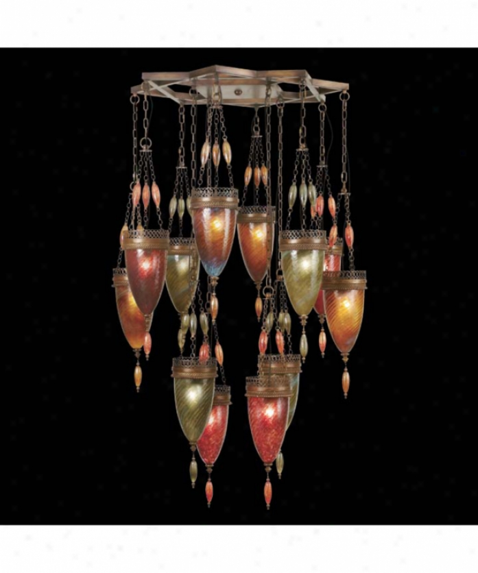 Fine Art Lamps 718540-6 Scheherazade 12 Light Single Tier Chandepier In Aged Dark Bronze With Green-amber-red Glass
