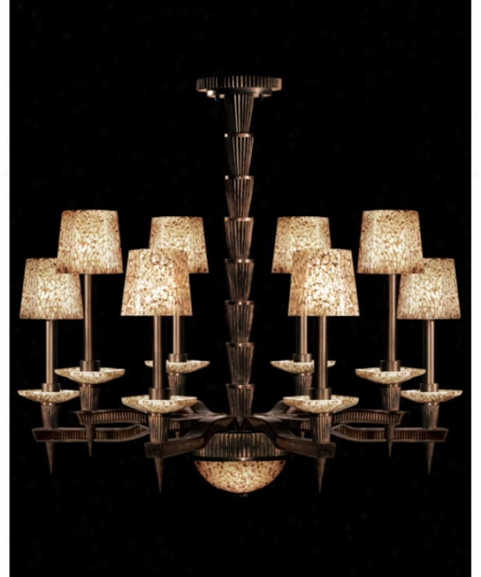 Fine Art Lamps 719940 Mid-century Inspirations 8 Light Single Tier Chandelier In Weatheted Bronze Patina Wcopper Highlight With Hand Blown Art Glazs Glass