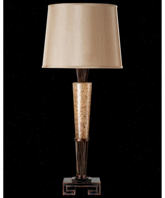 Fine Art Lamps 723010 Mid-century Inspirations 1 Light Table Lamp In Weathered Bronze Patina Wcopper Highlight With Hand Blown Practical knowledge Glass Glass