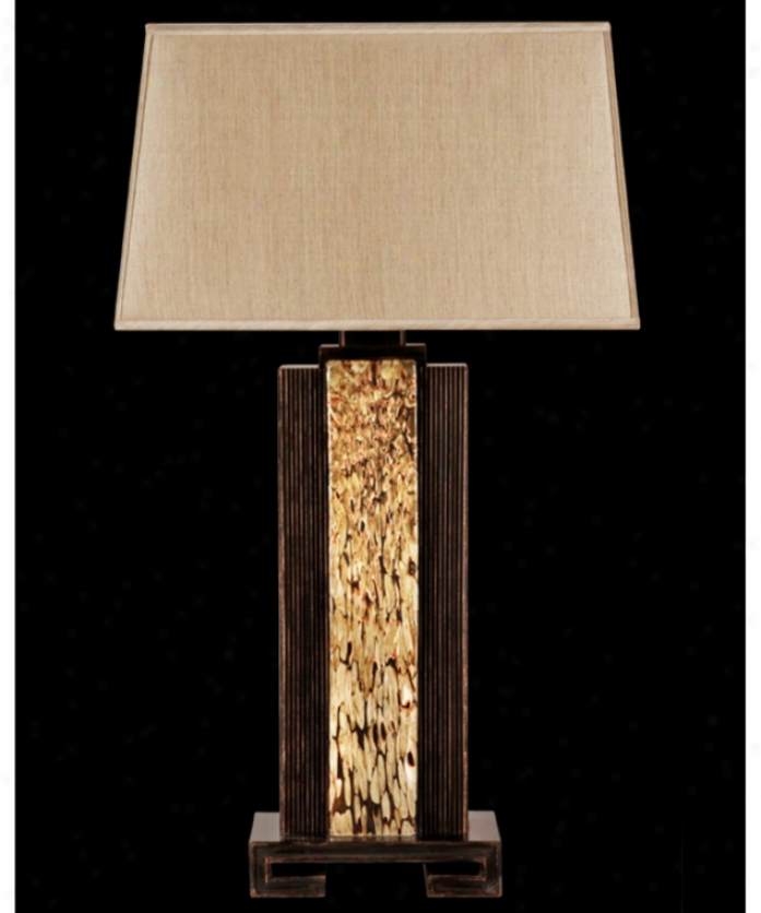 Fine Art Lamps 723210 Mid-century Inspirations 1 Ligt Table Lamp In Weathered Brown Patina Wcopper Highlight With Hand Blown Art Glass Glass
