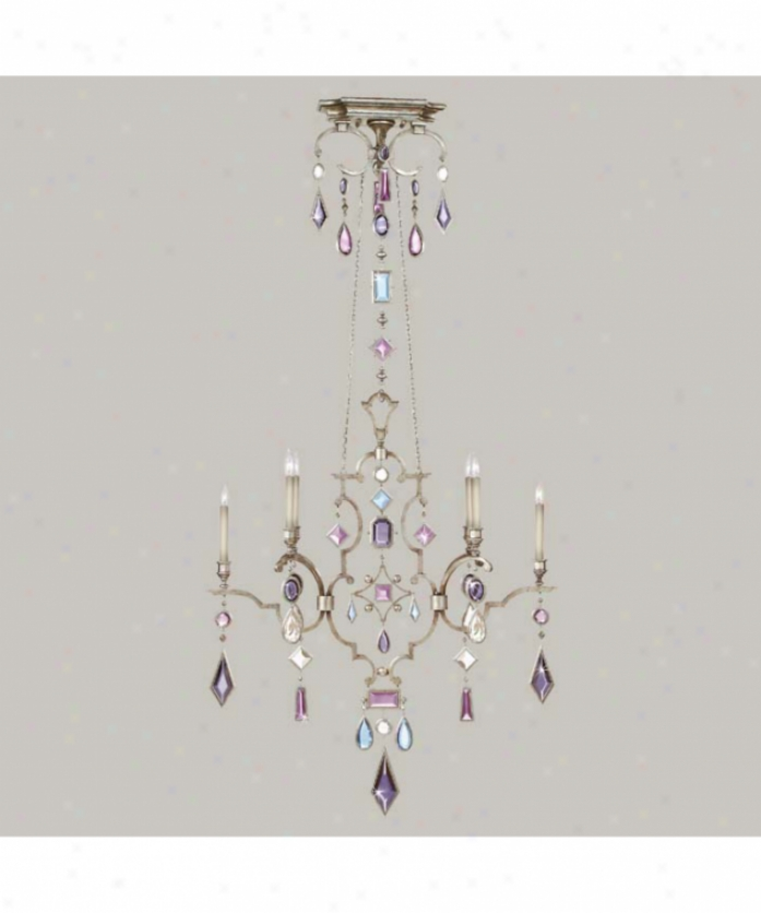 Fine Art Lamps 725740-1 Encwsed Gems 6 Light Large Foyer Chandelier In Silver With Amethyst-tourmaline-aquamarine-clear Diamond Crystal