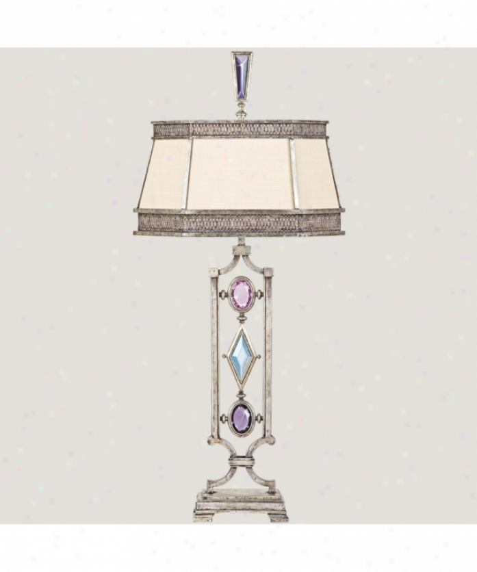 Fine Art Lamps 729810-1 Encased Gems 1 Loose Table Lamp In Silver With Amethyst-tourmaline-aquamarine-clear Diamond Crystal