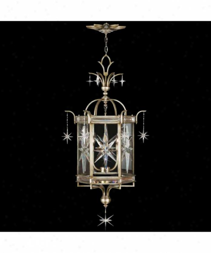 Fine Art Lmps 736240 Cohstellations 6 Light Foyer Lantern In Aged Silver Leeaf With Beveled Glass Glassoptic Crystal Starbursts Crystal