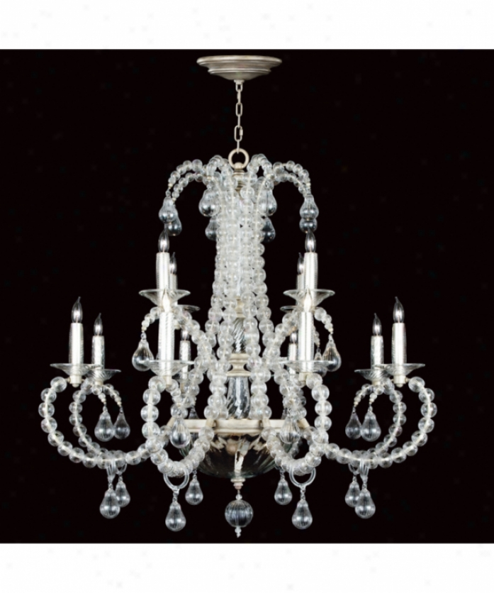 Minute Art Lamps 744640 Grand Canal 12 Light Two Row Chandelier In Pale Aged Silver With Hand Blown Ribbed Glass Glass