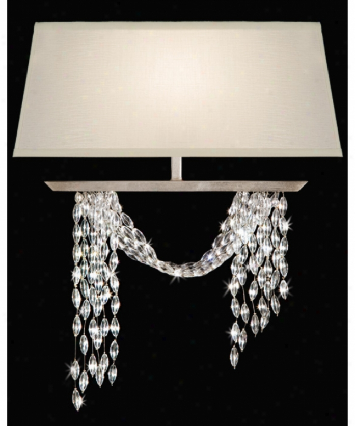 Fne Art Lamps 750250 Cascadee 1 Light Wall Sconce In Warm Silver Leaf With Hand-cut Crystals Crystal