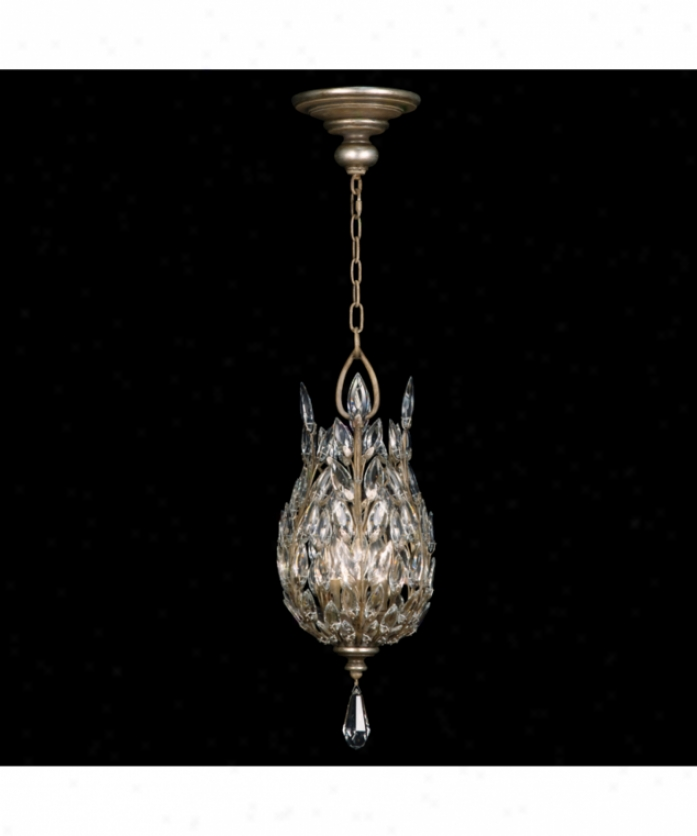 Fine Art Lamps 804640 Crystal Laurel 3 Light Foyer Lantern In Antiqued Warm Silver Leaf With Stylized Crystal Leaves Crystal