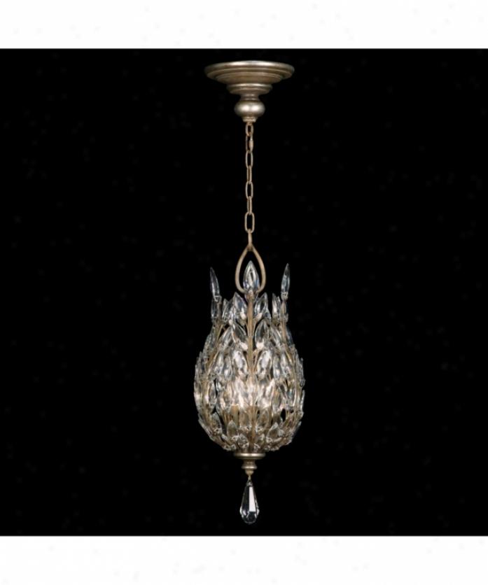 Fine Art Lamps 804640 Crystal Laurel 3 Light Foyer Lantern In Antiqued Warm Silver Leaf With Stylized Crystal Leaves Crystal