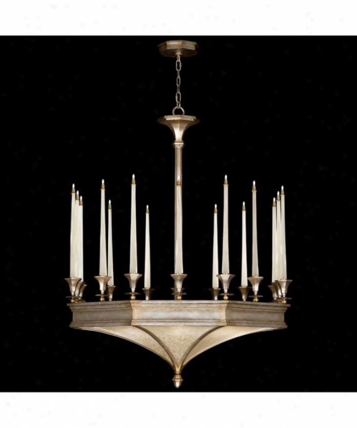 Fine Art Lamps 805440 Candlelight 21st Century 16+8 Light Large Foyer Chandelier In Gold-toned Silver Leaf With Hand-blown Patterned Glass Tapered Candles Glass