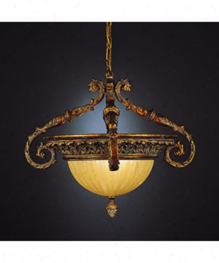 Fine Art Lamps 807542 Verona 2 Light Ceiling Pendant In Veronese Gold With Antique Washed Scalloped Glass Coupe Glass