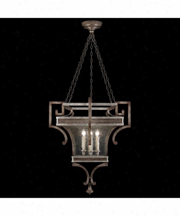 Fine Art Lamps 811940 Villa Vista 6 Light Foyer Lantern In Hand Painted Driftwood With Hand-blown Poor Glass Glass