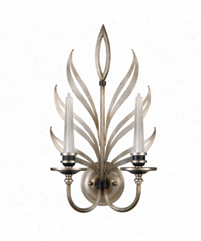 Fine Art Lamps 814650 Villandry 2 Light Wall Sconce In Antiquu Silver Leaf With Hand-blown Ribbed Glass Candles Glass
