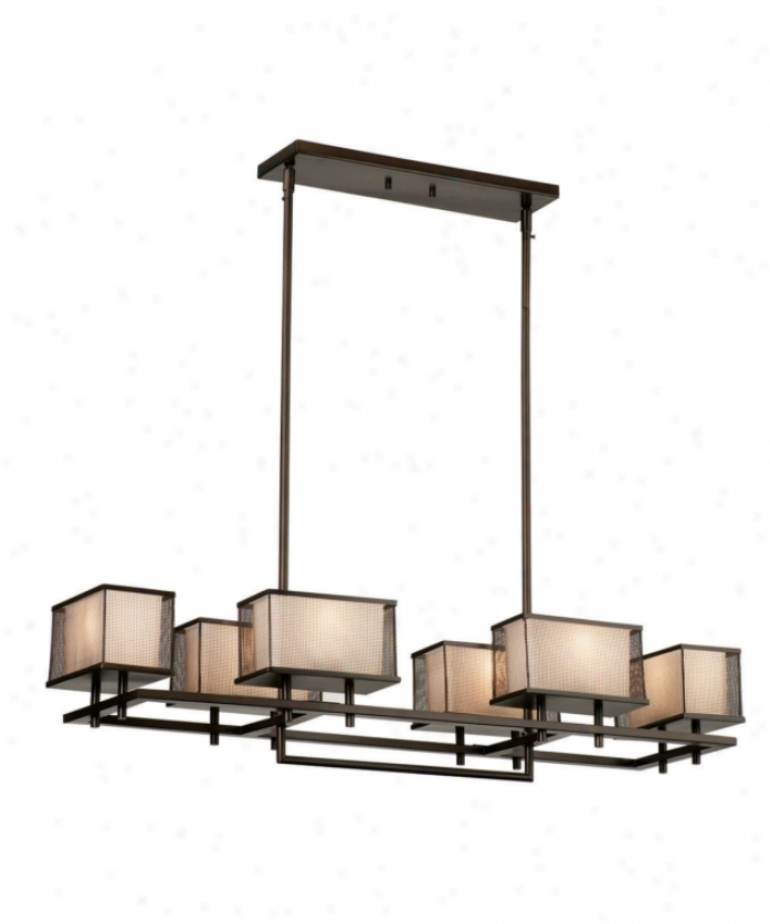 Forecast F153120 Buckhead 6 Lignt Single Tier Chandlier In Sorrel Bronze With Etched White Opal Glass