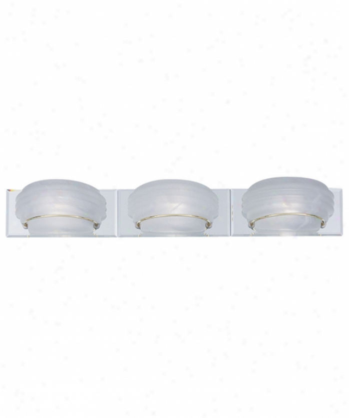 Forecast F4512 Diva 3 Light Bath Vanity Light In Polished Brass Or Polished Nickel With White Alabaster Glass
