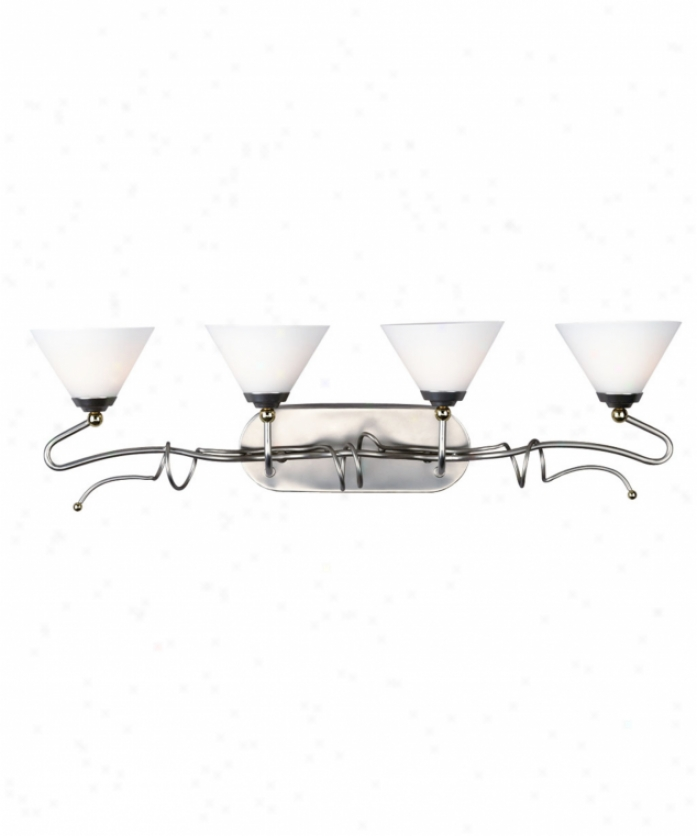 Forecast F454262 Twist 4 Illuminate Bath Vanity Light In Metallic Silver Wbrass Language WithE tched White Opal Glass