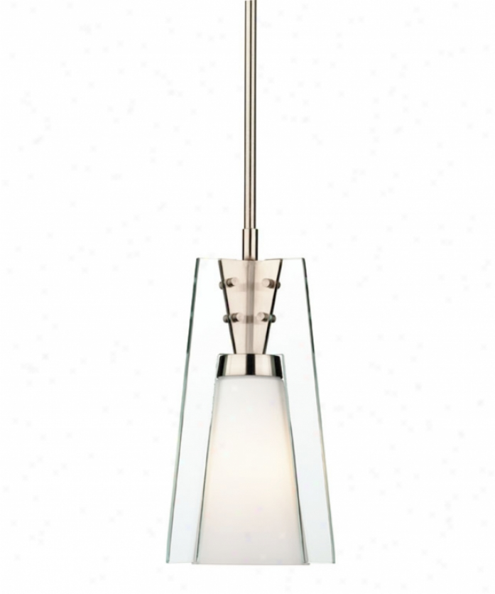Foresight F553636 Mini Mofgan 1 Light Mini Pendany In Satin Nickel With Etched White Opal With Clear Pannels Glass