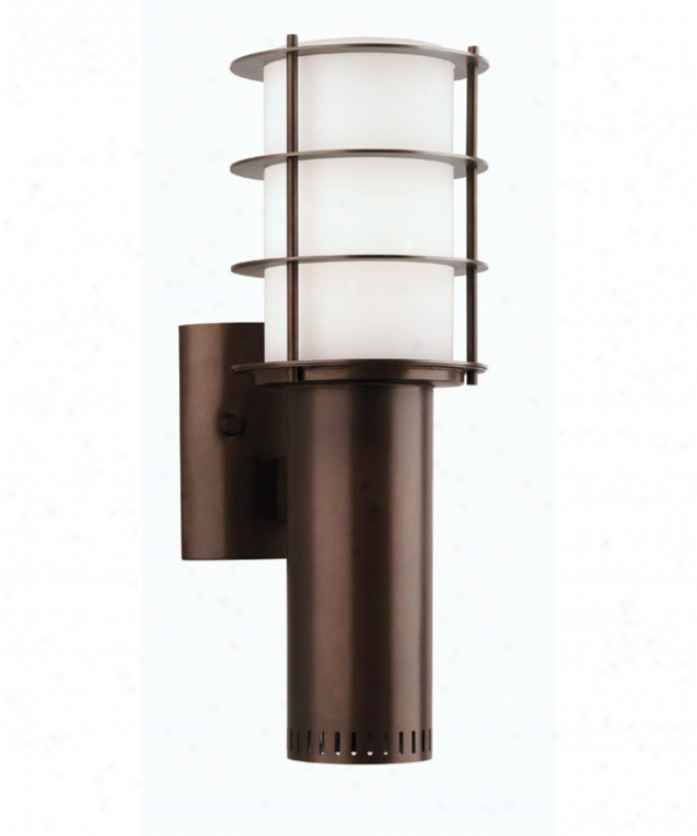Forecast F849568nv Hollywood Hills 2 Light Outdoor Wall Light In Deep Bronze With Etched White Opal Glass