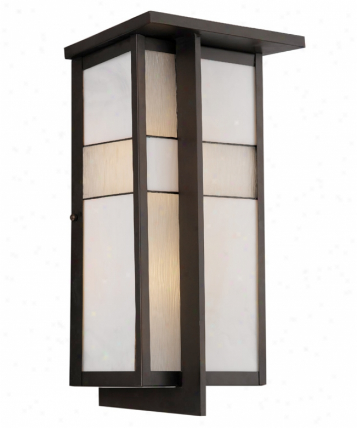 Forecast F850768 Tango 2 Light Outdoor Wall Light In Deep Bronze With White Artglass With Pressed Serpentine Inserts Glass