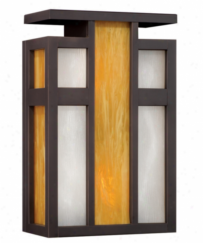 Forecast F854650 Telluride 2 Light Outdoor Wall Light In Bronze Patina With Parchment Artglass With Etched Serpentine Glass