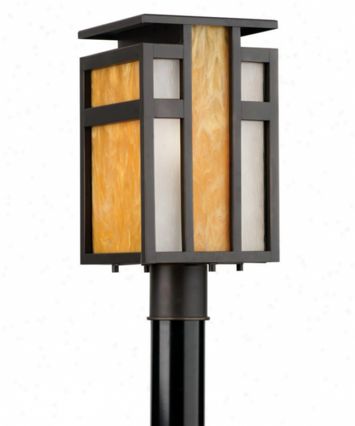 Forecast F854850 Telluride 1 Light Outdoor Post Lamp In Bronze Patina With Parchment Artglass Wirh Etched Serpentine Glass