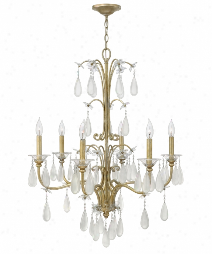 Fredrick Ramond Fr40316slf Francesca 6 LightS ingle Tier Chandekier In Silver Leaf With Etched And Clear Crystal Accents Glass