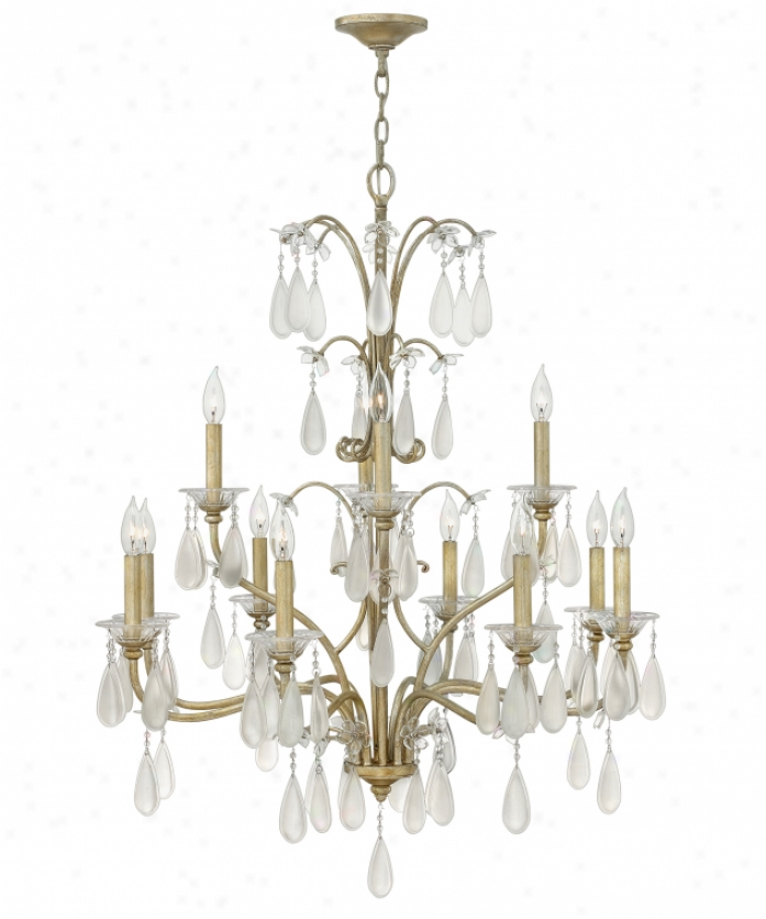 Fredrick Ramond Fr40318slf Frnacesca 12 Light Pair Tier Chandelier In Soft and clear  Leaf With Etched And Clear Crystal Accents Glass