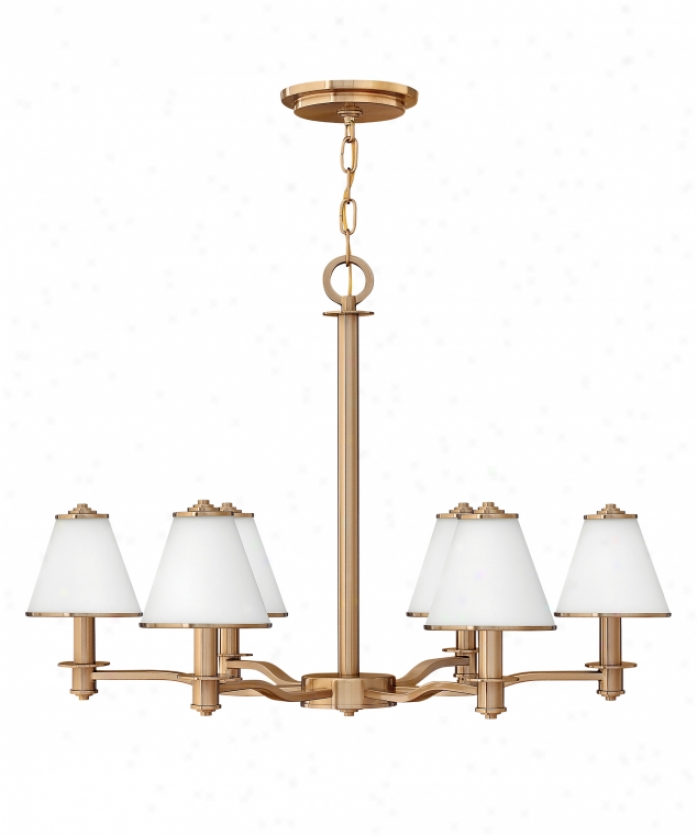 Fredrick Ramond Fr436O6bca Coco 6 Light Single Tier Chandelier In Brushed Cashmere With Etched Opal Wmetal Trim Glass