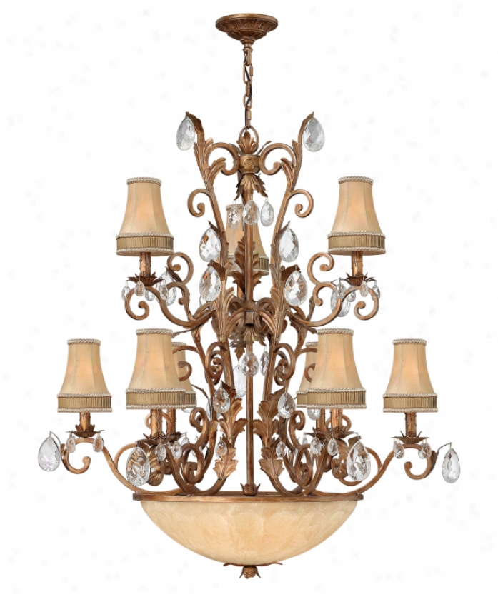 Fredrick Ramond Fr488O5sfa Seville 12 Light Two Row Chandelier In Satin Fawn With Honey Scavo Ribbed Italian Glassfractured Crystals Crystal