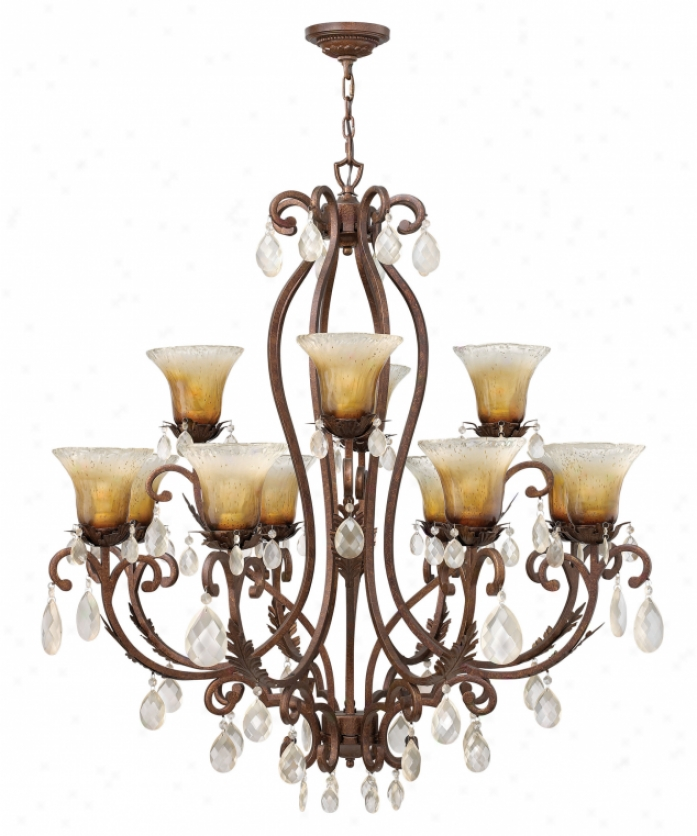 Fredrick Ramond Fr49157abr Bella Donna 12 Light Two Tier Chandelier In Antique Bronze With Champagne Glasschampagne Crystal Crystal