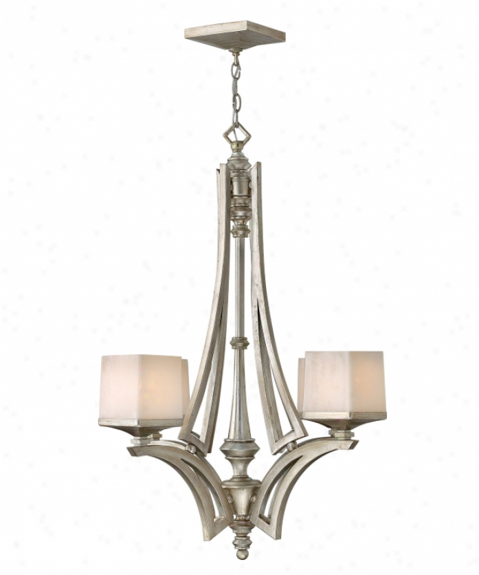 Fredrick Ramond Fr49194slf San Simeon 4 Light Mini Chandelier In Gentle Leaf With Painted Soft Faun-colored Glass