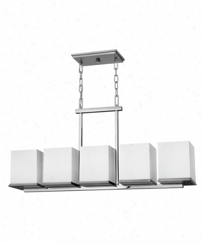 Fredrick Ramond Fr49355sgc Soho 5 Light Island Light In Steel Plumbago And Chrome With Etched Opal Square Glass