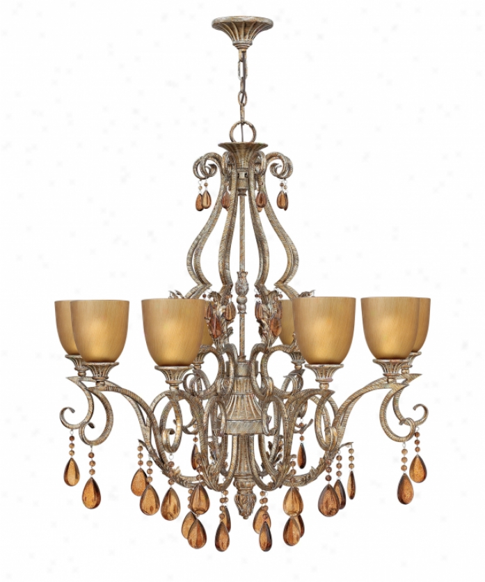 Fredrick Ramond Fr49392bme Monet 8 Light Single Tier Chandelier In Brushed Merlot With Champagne Glassdark Champagne Crystal Crystal