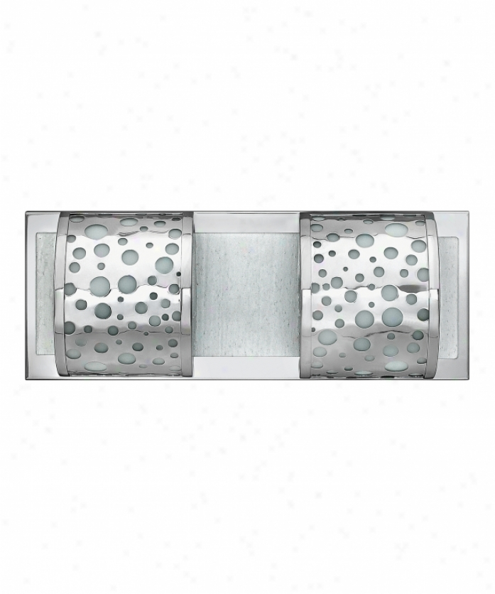 Fredrick Ramond Fr55452pcm Mira Fizz 2 Light Bath Vanity Light In Polished Chrome With Clear Etched Seedy Glass